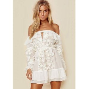 for love&lemons floral lace mini dress in white